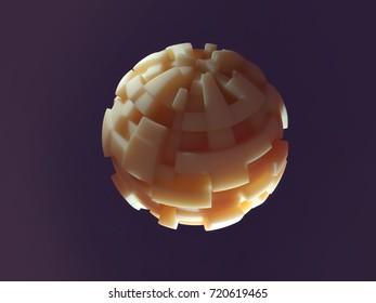 carved sphere, 3d illustration