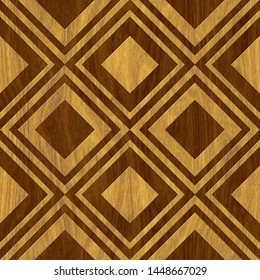 Carved square pattern on wood background seamless texture, marquetry panel, 3d illustration