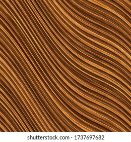 Carved waves pattern on wood background, seamless texture, 3d illustration
