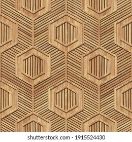 Carved wood seamless texture with hexagonal pattern, stripes background, 3d illustration