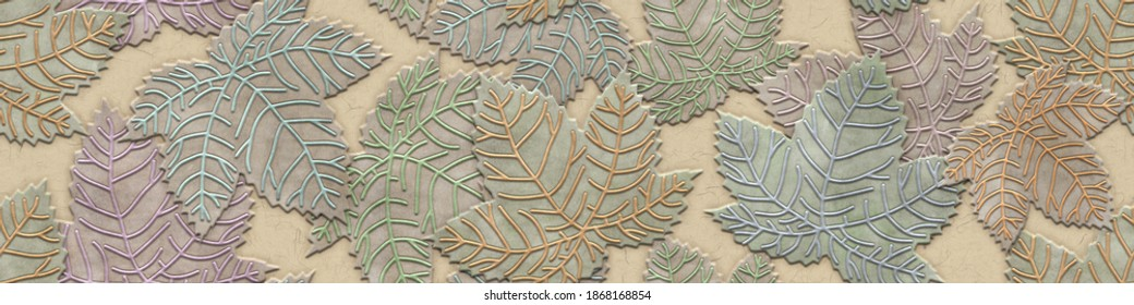Carving leaves pattern on background, seamless texture, autumn color, 3d illustration, long texture