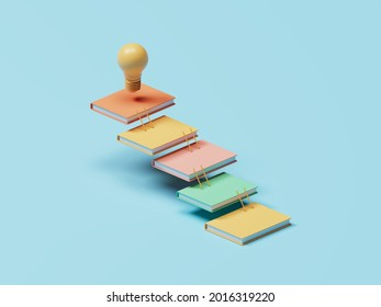 Cascade of colourful books connected by ladders, light bulb on top as symbol of ideas or invention. Studying, education and e-learning concept. 3D illustration.