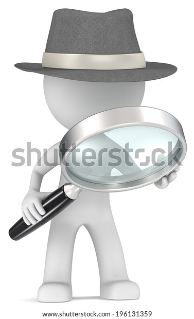 Case. Dude the detective with magnifying glass. Film Noir style.