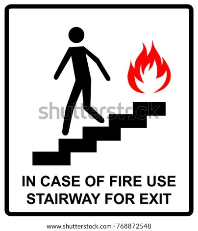 Case Fire Use Stairway Exit Sign Stock Illustration 768872548