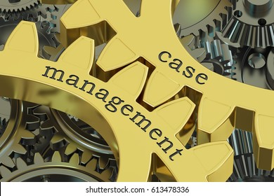case management, concept on the gearwheels, 3D rendering
