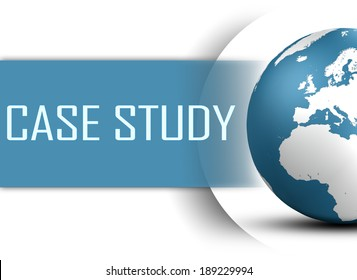 Case Study concept with globe on white background