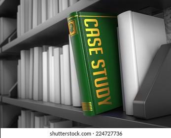Case Study - Green Book on the Black Bookshelf between white ones.