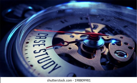 Case Study on Pocket Watch Face with Close View of Watch Mechanism. Time Concept. Vintage Effect.