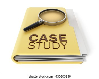 Case study text under magnifying glass standing on yellow folder. 3D illustration.