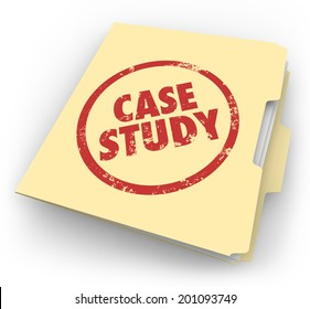 Case Study words stamped in red ink on a manila file folder good example best practice