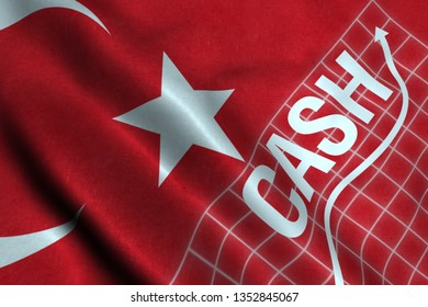 Cash - Finance and banking terms concept with Turkish Flag 3D illustration