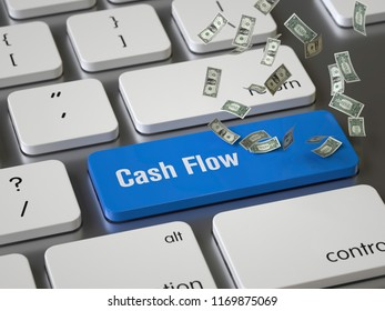 Cash Flow key on the keyboard, 3d rendering,conceptual image.