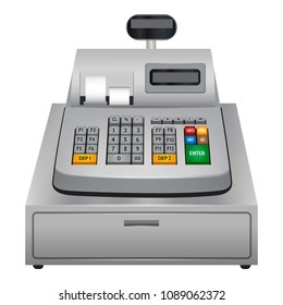 Cash machine icon. Realistic illustration of cash machine icon for web design isolated on white background