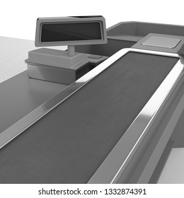Cash Register With Belt Counter. Empty Checkout Counter.  3D rendering