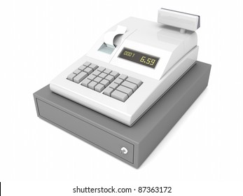 Cash register with closed drawer