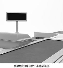 Cash Register. Supermarket Belt Counter. 3D render