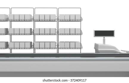 Cash Register. Supermarket Belt Counter With Blank Products. 3D render