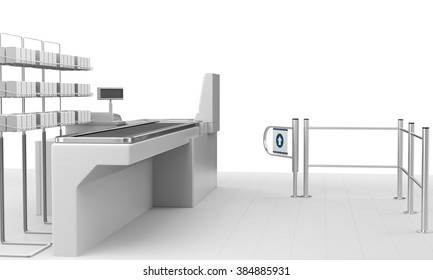 Cash Register. Supermarket Belt Counter With Blank Products And Barrier. 3D render