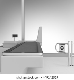 Cash Register. Supermarket Belt Counter. 3D render