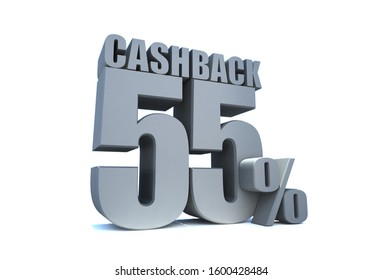 CASHBACK 55 Percent off 3d Sign on White Background, Special Offer 55% Discount Tag, Sale Up to 55 Percent Off,big offer, Sale, Special Offer Label, Sticker, Tag, Banner, Advertising, offer Icon
