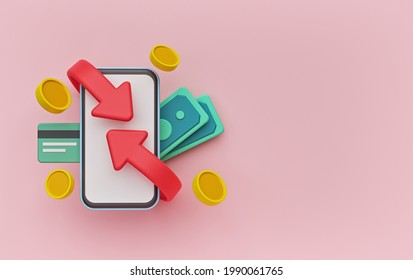 Cashback and refund concept with smartphone, credit card, coins, money bills. copy space. 3d rendering