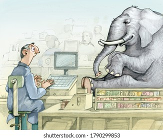 cashier looks astonished and amazed an elephant put on the crate to be purchased allegory of exaggeration of consumerism