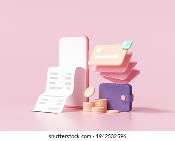 Cashless society, credit card, wallet and smartphone with a transaction on pink background. money-saving, online payment concept. 3d render illustration