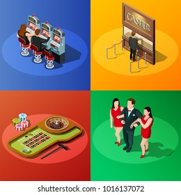 Casino 2x2 design concept with slot machine roulette cashier and winner square compositions isometric  illustration