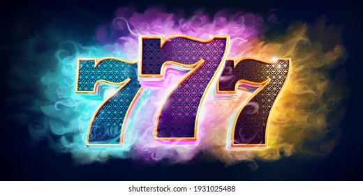 """Casino background with bright colors with 3d numbers 777 on dark background. """"3D rendering"""""""