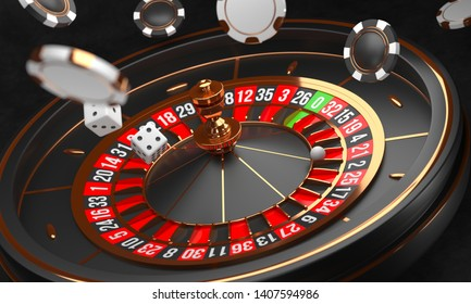 Casino background. Luxury Casino roulette wheel on black background. Casino theme. Close-up black casino roulette with a ball, chips and dice. Poker game table. 3d rendering illustration