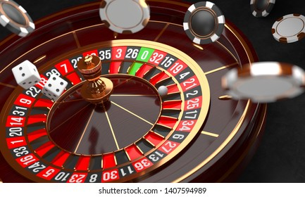 Casino background. Luxury Casino roulette wheel on black background. Casino theme. Close-up wooden casino roulette with a ball, chips and dice. Poker game table. 3d rendering illustration