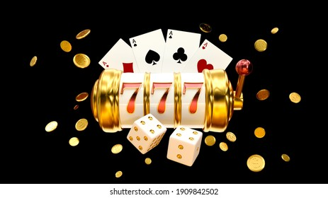 Casino background. Slot machine with roulette wheel. Online casino concept. Falling poker chips. 3d rendering.