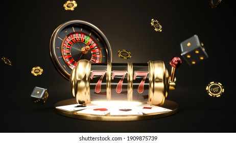Casino background. Slot machine with roulette wheel. Falling poker chips. Online casino concept. 3d rendering.