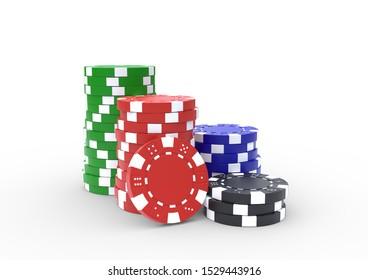 Casino chip stacks over white background. Casino concept. 3D render illustration