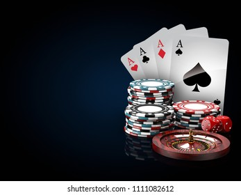 Casino chips stacks with roulette, play cards and dice. 3d Illustration on black and blue background