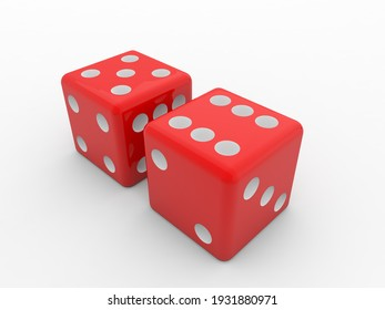 Casino dice on a white background. 3d render illustration.
