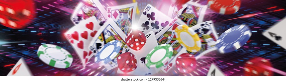Casino elements in abstract background