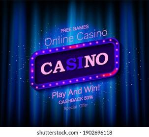 Casino frame label, falling ribbons winner. Raster copy
