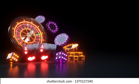 Casino Futuristic Concept Design Roulette Wheel and Poker Cards - 3D Illustration