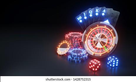 Casino Futuristic Concept Design Roulette Wheel and Poker Chips - 3D Illustration