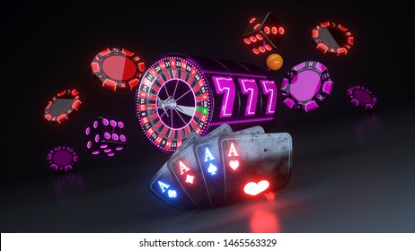 Casino Gambling Concept, Four Aces Poker Cards, Dices And Roulette Wheel - 3D Illustration