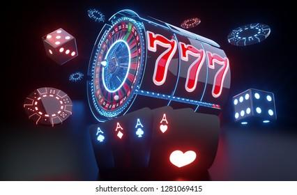 Casino Gambling Concept With Futuristic Neon Lights - 3D Illustration
