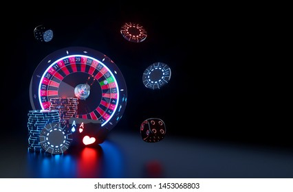 Casino Gambling Concept With Futuristic Red And Blue Neon Lights - 3D Illustration