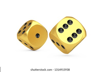 Casino Gambling Concept. Gold Game Dice Cubes in Flight on a white background. 3d Rendering