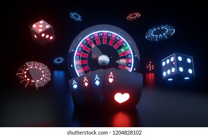 Casino Gambling Concept. Roulette Wheel, Four Aces, Chips And Dices With Futuristic Red And Blue Neon Lights - 3D Illustration