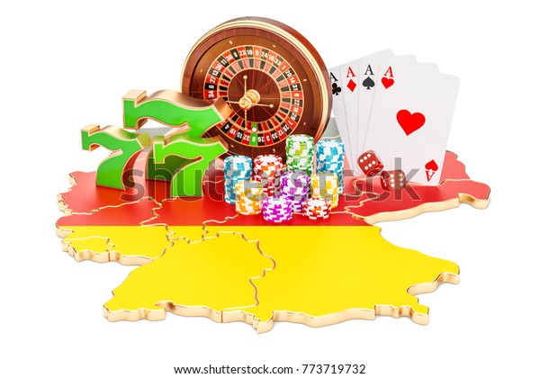 Casino and gambling industry in Germany concept, 3D rendering isolated on white background
