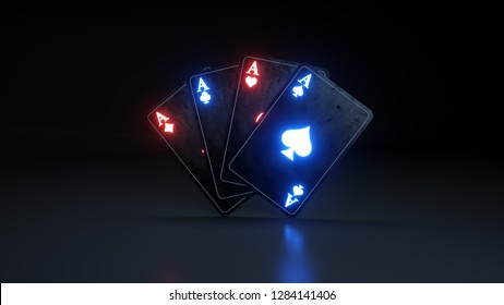 Casino Gambling Poker Cards Concept With Glowing Neon Isolated On The Black Background - 3D Illustration