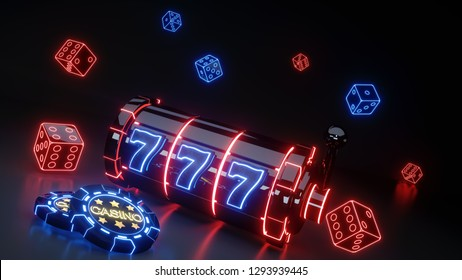 Casino Gambling Slot Machine Concept With Glowing Neon Isolated On The Black Background - 3D Illustration