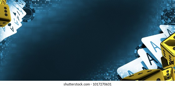 Casino Games Conceptual Banner Illustration. Bluish Poker Theme with Golden Casino Dices.
