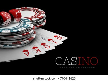 Casino Games of Fortune Conceptual3D Rendered. Poker cards, Dices and Casino Chips